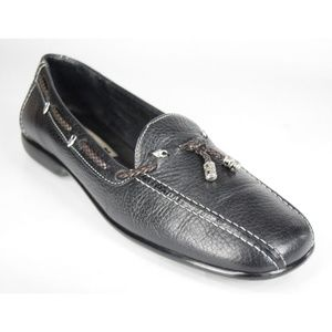 Brighton Black Leather Loafers Heart Charm Loafers